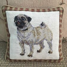 "Brand New White Pug Dog 100% Wool Handmade Petite Needlepoint Pillow 10"" by 10"""