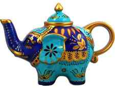 Hand Painted Colourful Fine China ELEPHANT Teapot: Blue, Turquoise, & Gold *NEW