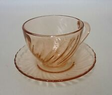 Antique Vintage French Pink Depression Glass Cup & Saucer Swirl Pattern mint b