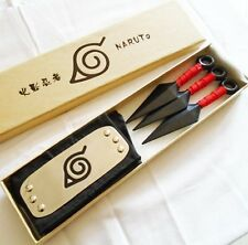 New Anime Naruto Leaf Village Ninja Weapons Cosplay Kunai & Headband Prop