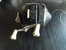 """""""Vintage Zebco Reel 202 classic with metal foot, black and white U.S.A."""