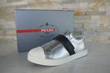 Prada Gr 36,5 Sneakers Slipper Schuhe 3E6274 silber Leder NEU UVP 395 €