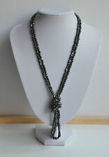 Vintage Lot 2 pcs Faceted Cut Hematite Necklace 35'' inches each 94 gr together