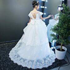 Pageant Gowns Long Tailing Ball Gown White Flower Wedding Appliques Dress