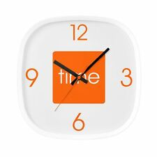 Arco Orange Wall Clock Plastic Square Analogue Display Clock