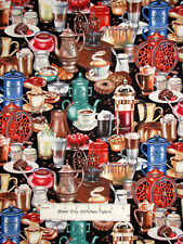 Coffee Pot Fabric - Espresso Java Grinder Bean I Love Coffee Multi Color - Yard