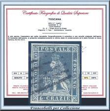 ASI 1851 Toscana 6 crazie grigio su grigio n 7f Usato Certificato Antichi Italia
