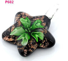 Handmade Retro flower star lampwork art glass beaded pendant necklace J6P