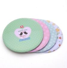 SET OF 4 Happy Day Coasters Metal Cork Love Hearts Flowers Floral Multicoloured