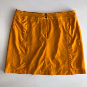 LIZ GOLF Women's Yellow Stretch Pocket Skirt Skort w/ Built Shorts Sz 12