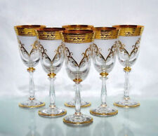 6 x 250 ML Red Wine Glasses, Bohemia Crystal Glass Painted in Gold New &