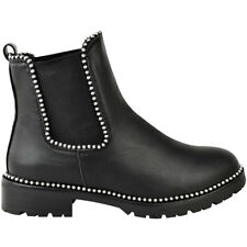 e3b237703fdf8 Womens Studded Ankle Boots Chunky Sole Low Heel Lace Up Biker Goth Punk  Size UK