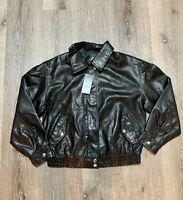 New Wild Fable Women's Faux Leather Bomber Jacket Size Small Black with Tags