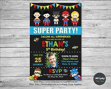Superhero Invitation Personalised Birthday Party Card Invite Batman Superman