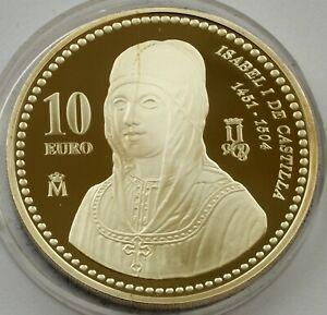 SPAIN SILVER 10 EURO 2004 ISABEL DE CASTILLA PROOF COIN
