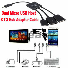 Dual Micro USB Host OTG Hub Adapter Cable For Tab3 Samsung Galaxy Note S4 S5 DY
