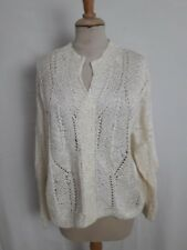 N01 VINTAGE TRICOT MAIN PULL AJOURE ECRU T38/40 - HAND KNITTED ECRU PULLOVER S/M