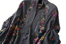 Grand Châle Gris - Cachemire broderie Pashmina - Foulard - Etole 200 X 70