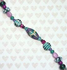 7 Pc. Foil Lampwork Focal Glass Bead Set, Swarovski, Rondelles, 20 Bonus Beads