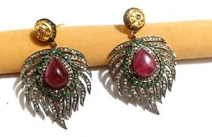 Solid 925 Silver Feathers Design Earring Handmade Ruby Emerald Diamond Jewelry