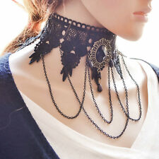 Women Black Lace Flower Chain Tassel Choker Collar Necklace Gothic Punk Jewelry