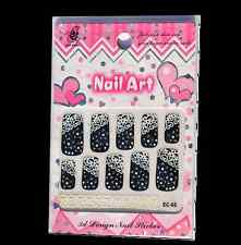 Salon Quality - Black & White Full Nail Stickers Manicure Nail Art