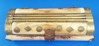 Vintage India Mother Of Pearl Abalone Inlay Wood Trinket Jewelry Box with Velvet