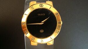 Genuine GUCCI 3300M 18k Gold electroplated Case/Dial/Movement. Not working.
