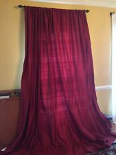 Set of 2 Pottery Barn Dark Red Silk Dupioni Curtains Drapes 108 x104 doublewide