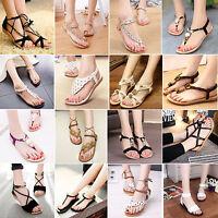 Bohemia Womens Summer Slippers Flip Flops Flat Sandals Beach Thong Shoes T-strap