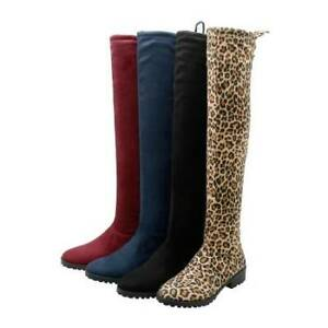 Women's Round Toe Over The Knee Long Boots Flat Low Heels Ladies Shoes Fashion
