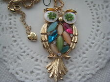 "BETSEY JOHNSON OPAL & CRYSTAL INLAY OWL NECKLACE  26""  # 128"