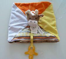 V8- DOUDOU PLAT HAPPY HORSE GIRAFE bleu orange jaune marron  tricot att têt NEUF