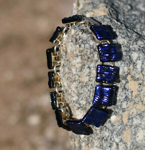 Dichroic Glass 12 Square Shaped Piece Bracelet Changing Hues of Purple and Blue