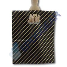 100 Medium Black and Gold Striped Gift Shop Boutique Plastic Carrier Bags