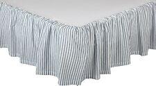 Gathered Queen Bed Skirt Denim Blue Ticking Stripe Farmhouse Style Sawyer Mill