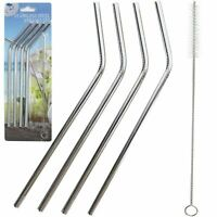 Reusable Metal Stainless Steel Drinking Straw Set of 4+ Free Cleaning Brush