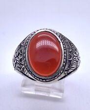 Vintage Men's Large Sterling Silver Carnelian Art Nouveau Ring Sz 11.75 Handmade