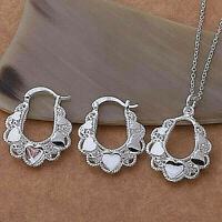 Frilly Heart Pendant Necklace and Earrings Set 925 Sterling Silver NEW