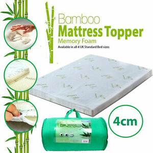 4CM Bamboo Memory Foam Mattress Topper Orthopedic Thick Zipped Cover OR Pillow