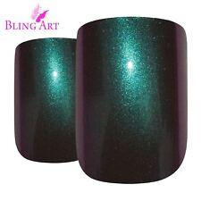 False Nails Green Purple Chameleon French Squoval Bling Art 24 Tips 2g Glue