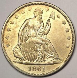 1861-O Seated Liberty Half Dollar 50C WB-103 - Sharp AU Details - Rare!