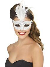 SILVER GLITTER MASQUE YEUX+plumes Vénitien Bal masqué déguisement