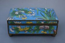 """Antique Chinese 6 1/8"""" Turquoise Blue Cloisonne Box with Hinged Lid"""