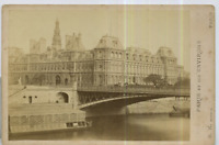 Paris, hotel de ville  Vintage albumen print, France Tirage albuminé  10x14