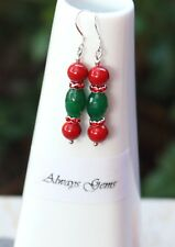 Red shell pearl and Green Jade gemstone Christmas Earrings Candy Earrings