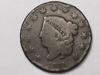 1831 (Large Letters) US Coronet Head Large Cent (Rim Damage).  #8