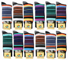 12 Pairs New Cotton Men Stripped Wedding Business Style Dress Socks Size 10-13