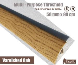 Varnished Oak Multi Floor Threshold Strip 50mmx90cm Multi-Height/Pivot Easyclip