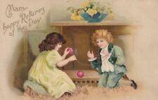 BIRTHDAY, B-150110 -- Boy & Girl, Rolling Yarn into Ball, postcard